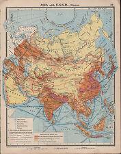 1939 MAPPA ASIA con URSS rotte marittime industrie metallurgiche porti petroliferi mineraria
