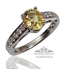 Certified 18kt Untreated 2.63 tw Yellow Oval Cut Natural Sapphire & Diamond Ring