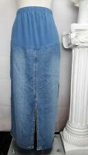 Baby And Me Maternity long Denim Jean Skirt Light Wash Front Slit Size Large