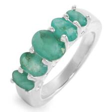 2.29ctw-Emerald-5 Stone-SSilver Ring- 6 1/4-Free Ship/Value $160