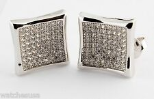 Curve Center Square Stud Men's Earrings Sterling Silver Rhodium Finish Cz Stone