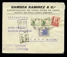 SPAIN 1937 ADVERTISING ENVELOPE...CIVIL WAR CENSOR P du SANTA MARIA...RAMIREZ