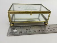 "Small Etched Ship Glass Brass Mirror Footed Trinket Jewelry Collect Box 4x2"" Vtg"