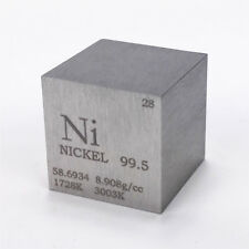 1 inch 25.4mm Nickel Metal Cube 99.5% 146grams Engraved Periodic Table