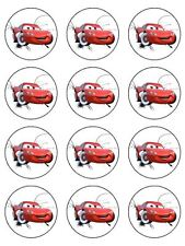 "CARS LIGHTNING McQUEEN 2"" ROUND CUPCAKE WAFER PAPER BIRTHDAY CAKE TOPPERS (24)"