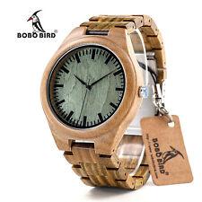 Mens Luxury Wood Watches for Men Full Wooden Quartz Watch Green Sandal Pockwood
