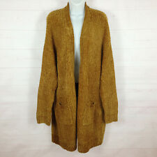 NWT Ava & Viv Luxurious solid Gold Chenille womens soft open cardigan sweater