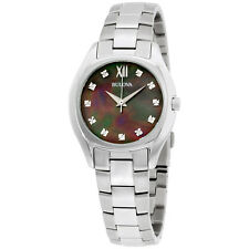 Bulova Diamond Collection MOP Dial Stainless Steel Ladies Watch 96P158