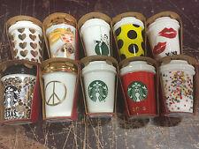 BRAND NEW 10 Pack 2015 Starbucks Christmas Holiday Ceramic Ornaments TEXAS Dot