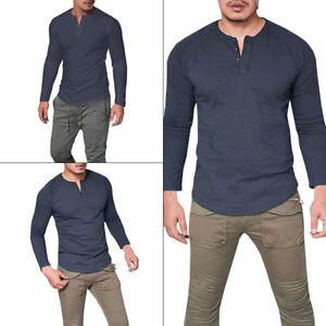 Men Soft Long Sleeve T-shirt Tee Top Henley Button Tank Tops Grandad Collarless