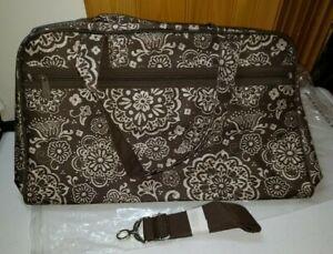 Thirty One City Weekender Travel Duffel Bag White Brown Floral Woodblock NEW