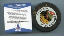 STAN MIKITA SIGNED CHICAGO BLACKHAWKS GAME PUCK BECKETT BAS COA C69437