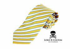 Lord R Colton Basics Tie - Yellow Pearl & Blue Stripe Necktie - $49 Retail New