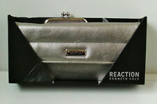 Silver Coloured Faux Leather Clutch Evening Bag with Seperate Nylon Purse BNIB