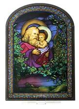 "Tiffany Style Father ""CHRISTMAS EVE"" 1902 STAINED ART GLASS Window Panel Display"