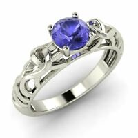 Natural AAA Tanzanite Solitaire Engagement Ring 10k/ 14k/ 18k Solid White Gold