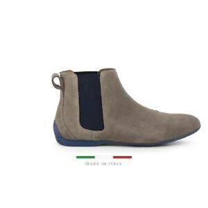 Sparco Misano Taupe Blue Shoes Ankle Boots in Suede