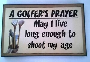 Dad Funny Golf Quote Wooden Plaque Sign A Golfer's Prayer FREE DELIVERY