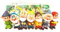 Vintage Walt Disney Snow White 7 Seven Dwarfs Plastic Vinyl Set W/ Storage Bag