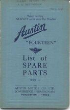 Austin Fourteen 14 original Spare Parts List 1937 Pub. No. 1490C