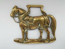 ANTIQUE HORSE BRASS 'Black Backed' MILITARY HORSE - Engraved reverse LOWE