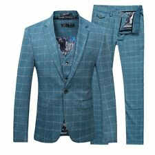 Cloudstyle Mens Suit Blue Size Large L Slim Fit Windowpane 3 Piece $220- 480