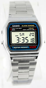 Casio A158W-1 Digital Steel Band Watch Stainless Alarm Stopwatch Casual New