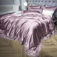 Satin Lace Bedding Set Luxury King Bed Sheet Duvet Cover Sheet Duvet Cover