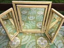 Vintage Triple Dressing Table Mirror Shabby Chic Yellow Chalk Painted Rustic VGC