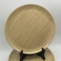 """SET OF 4 BURLAP PATTERNED SALAD LUNCH PLATES 9"""" HEAVY HARD PLASTIC NEUTRAL TAN"""