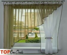 Voile Curtains with Tape / Slot Top Ready Made * Beige Voile Curtain New