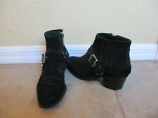 All-Saints Black Suede Leather Ankle Boots Women Size 7.5 Eur 38