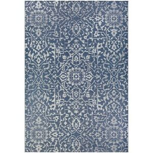"""Couristan Palmette Navy-Ivory In-Out Rug, 5'3"""" x 7'6"""" - 23296427053076T"""