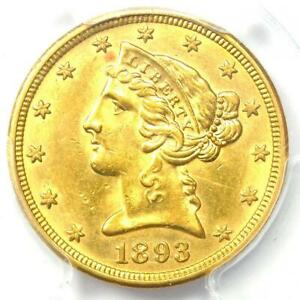 1893-O Liberty Gold Half Eagle $5 Coin - PCGS Uncirculated Detail (UNC MS)