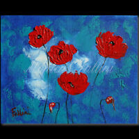 Red Poppies on blue palette knife original oil 8 x 10 inch by Fallini