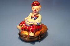 CLOWN PLAYING DRUMS, authentic FRENCH LIMOGES BOX ( NEW )