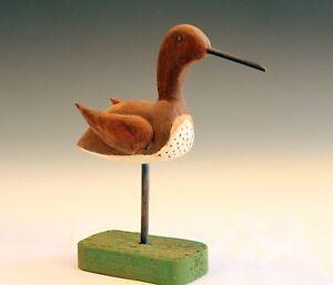 Old Folk Art Carved Wood Vintage Bird Figure Sculpture Painted Signed Decoy
