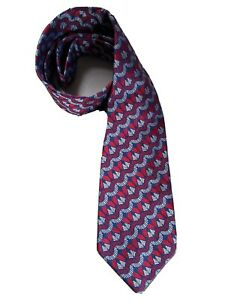 AUTHENTIC TURNBULL & ASSER RED PATTERNED 9.5CM SILK TIE. RRP £125