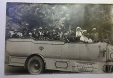 VINTAGE REAL PHOTO POSTCARD RPPC group visiting Guam Caves in Chamoru, TOUR BUS