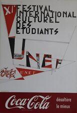 """""""XI° FESTIVAL DES ETUDIANTS UNEF 1963 / COCA-COLA"""" Affiche originale entoilée"""