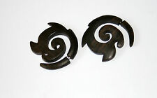 Handmade Tribal Ethnic Natural Bone Fake Plug Taper Earring Piercing Fire Spiral