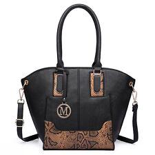Women Designer Snake Printed Wing Tote Bag Faux Leather Shoulder Handbag Black