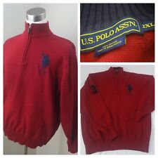 U.S. Polo Assn. Men's Vtg Burgundy 1/4 Zip 100% Cotton Big Horse Sweater Sz 2XL