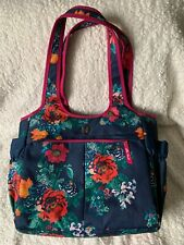 New listing Pioneer Woman Large Country Garden Floral Insulated Lunch Tote Bag Navy Blue