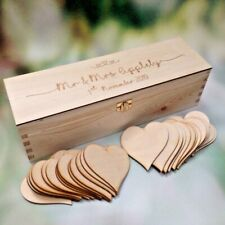 Wedding Guestbook with 60 wooden hearts Wooden Wine Box Heart Wishes Sign in box