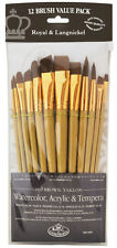 Royal Langnickel Paint Brushes LONG HANDLE Soft Brown Taklon 12 pc Painting 9303