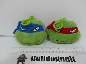 Lot 2 Teenage Mutant Ninja Turtles Keychain Plush Coin Purse Leonardo Raphael
