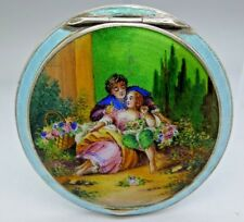 Sterling Silver Guilloche Enamel Hand Painted Lovers Scene Compact GORGEOUS FINE