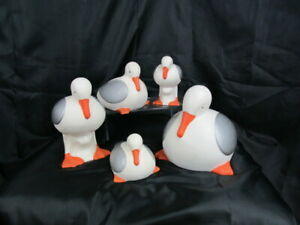Set of 5 Seagulls.Pottery Seaside collection. Home Decor. Second home by the sea