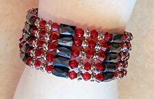 """Vintage Magnetic Wrap Bracelet Necklace Beaded Red Orange Silver Black 36"""" Bead"""